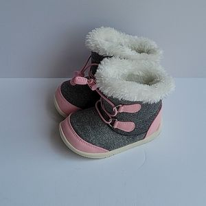 Toddler boots grey and pink white fur size 8.5